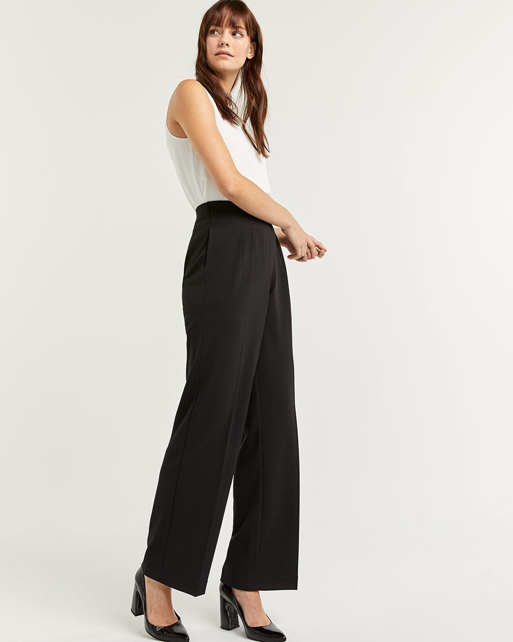 Pleated Wide Leg Black Pull On Pants