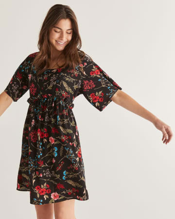 Floral Printed Empire Cut Shift Dress