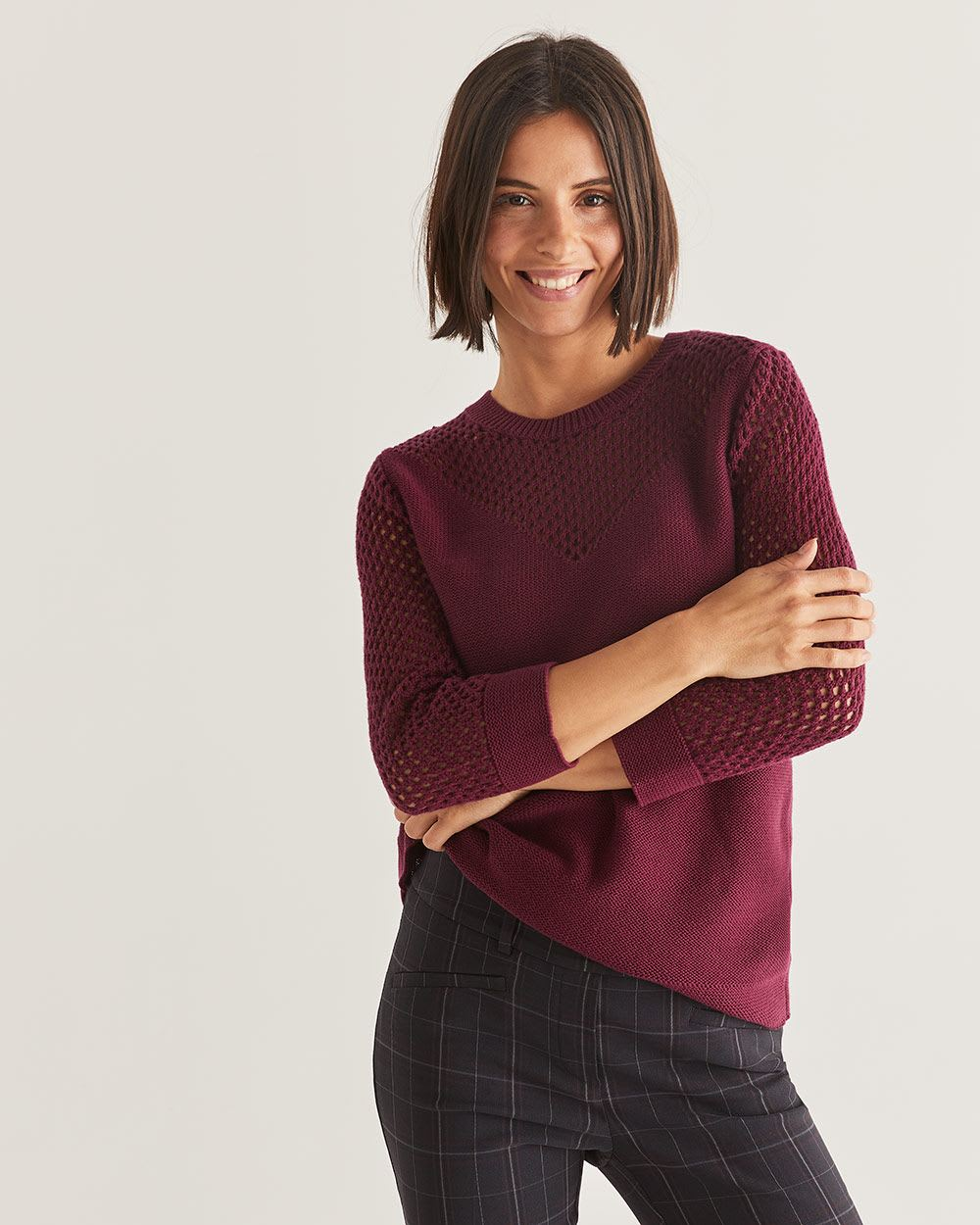 3/4 Sleeve Open Stitch Sweater