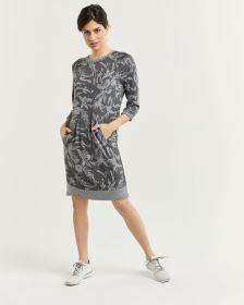 Printed 3/4 Sleeve Sweatshirt Dress Hyba