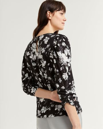 Floral Print 3/4 Sleeve Blouse with Ruching