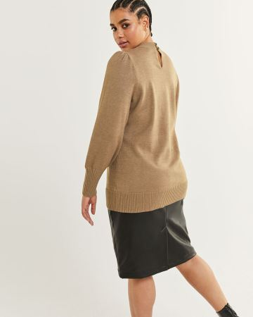 Long Puff Sleeve Mock Neck Sweater