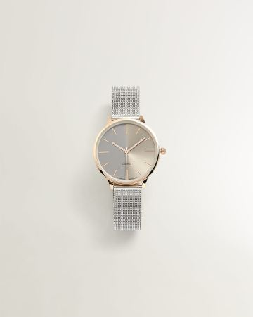 Silver and Gold Watch with Mesh Bracelet