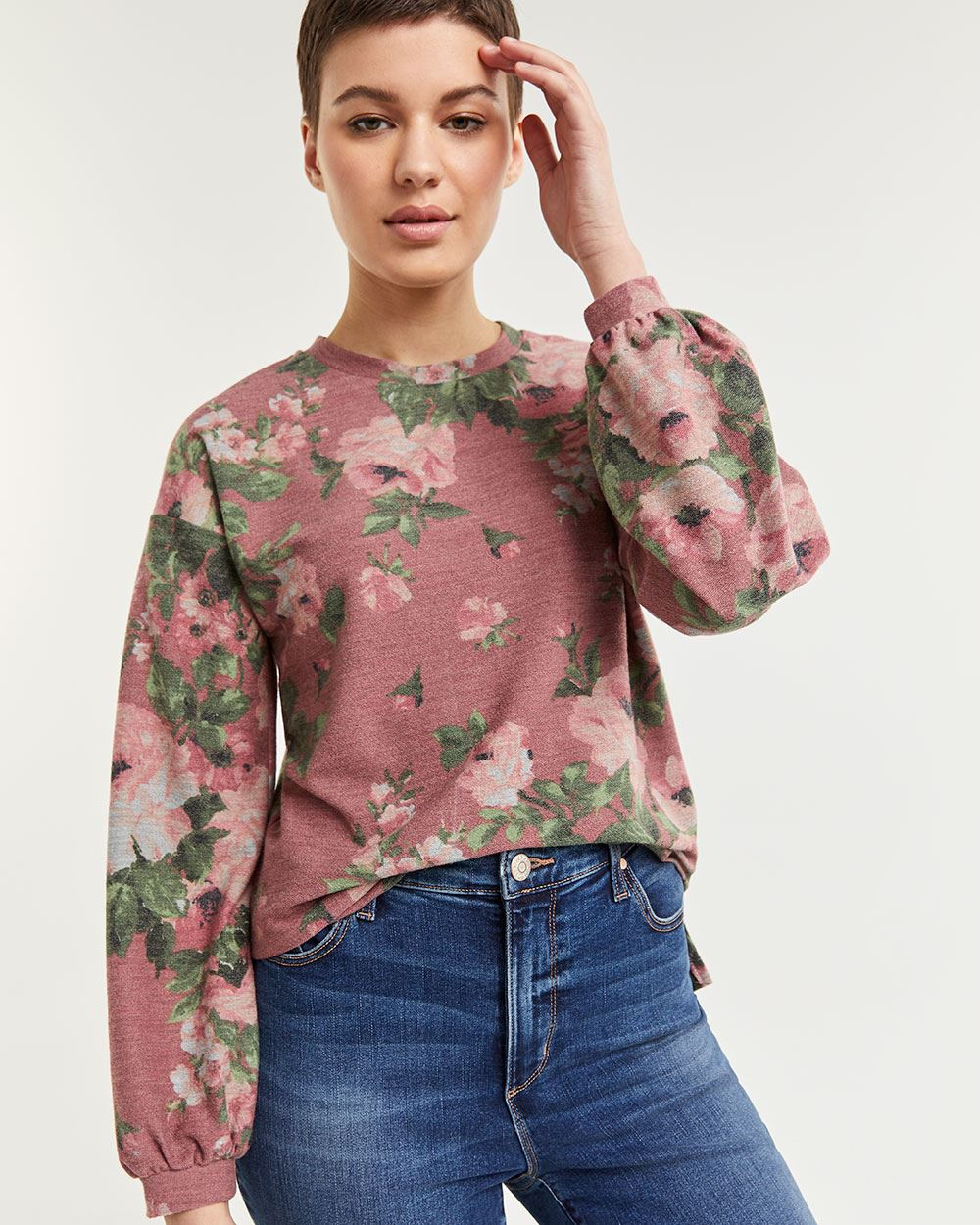 Long Sleeve Floral French Terry Tee
