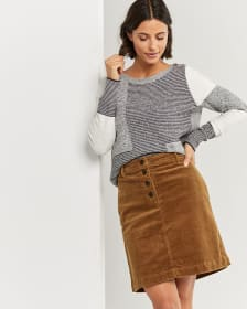 Corduroy A-Line Skirt with Button Fly