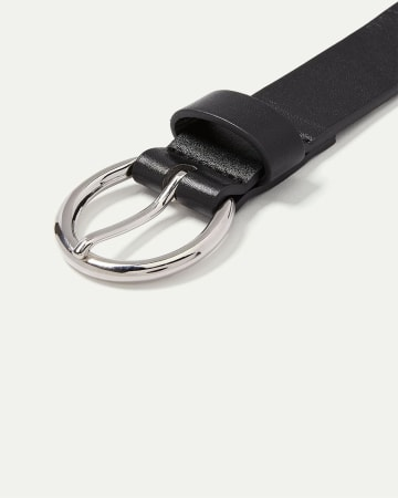 Faux Leather Belt with Round Buckle