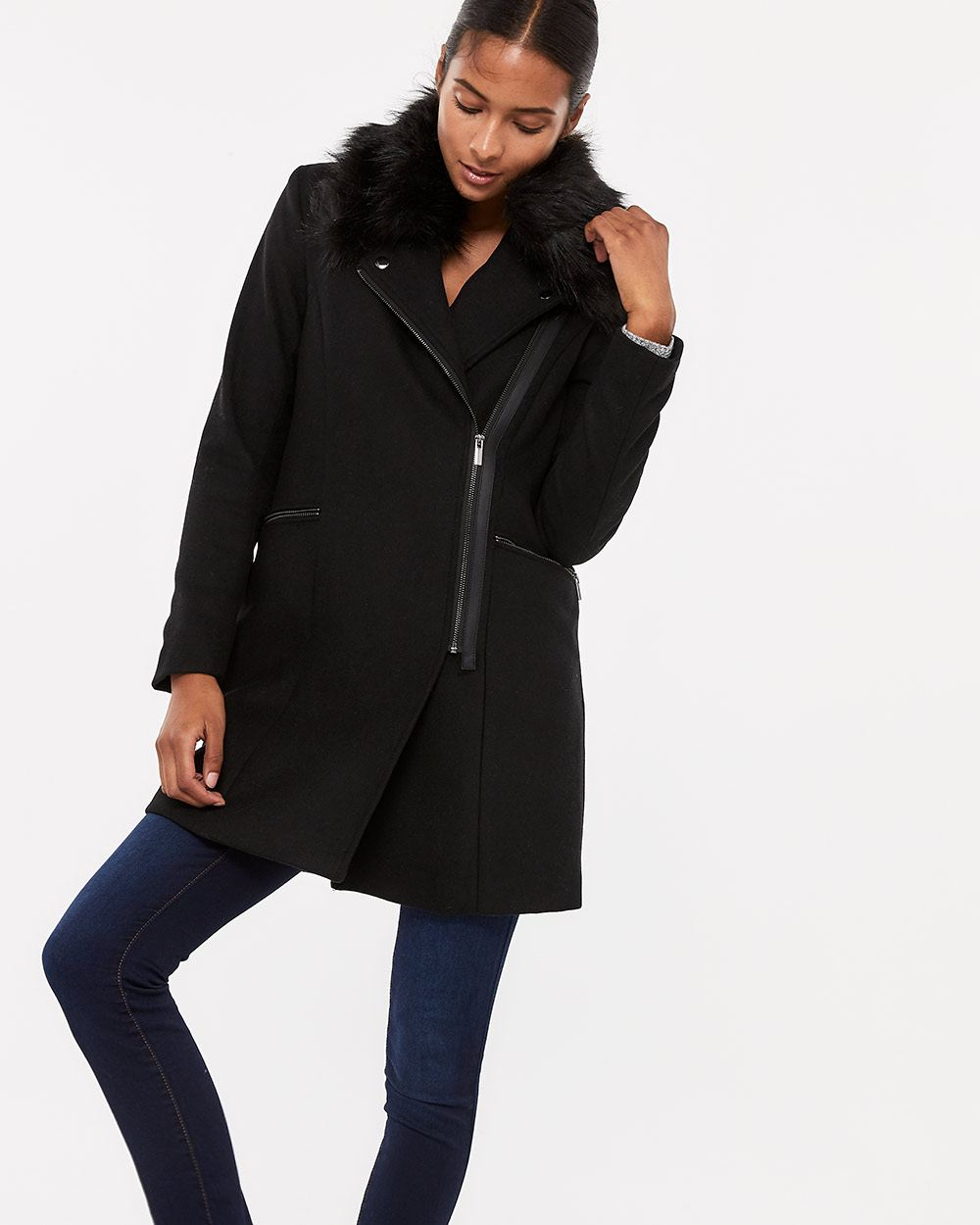 Asymetrical Faux Fur Collar Coat