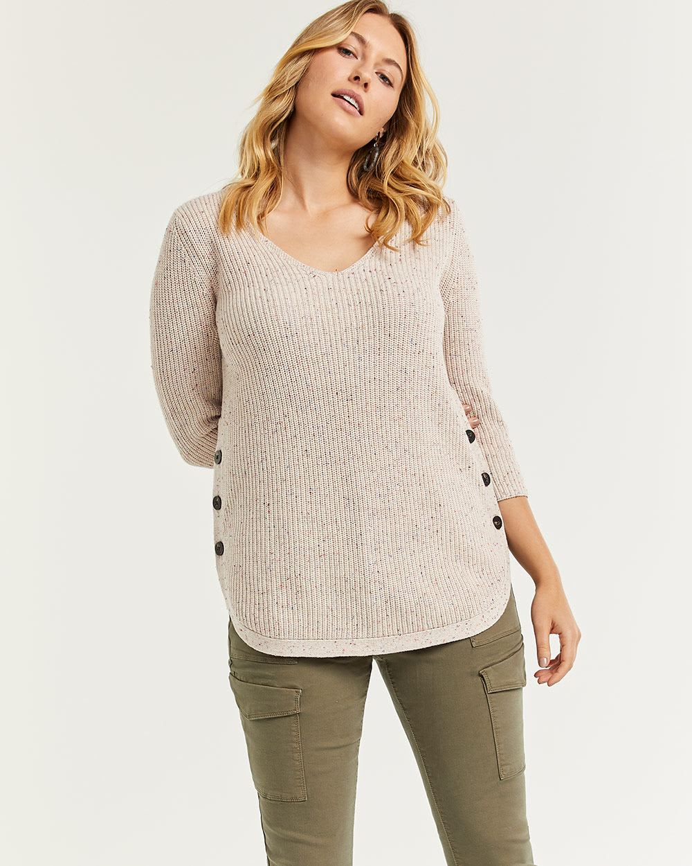 Nep Yarn V-Neck Cotton Sweater