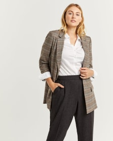Glen Plaid Long Open Blazer