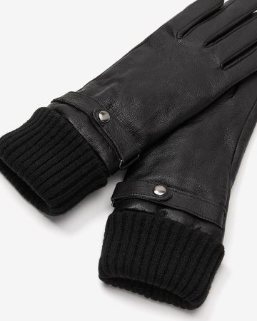 Rib Cuff Leather Gloves