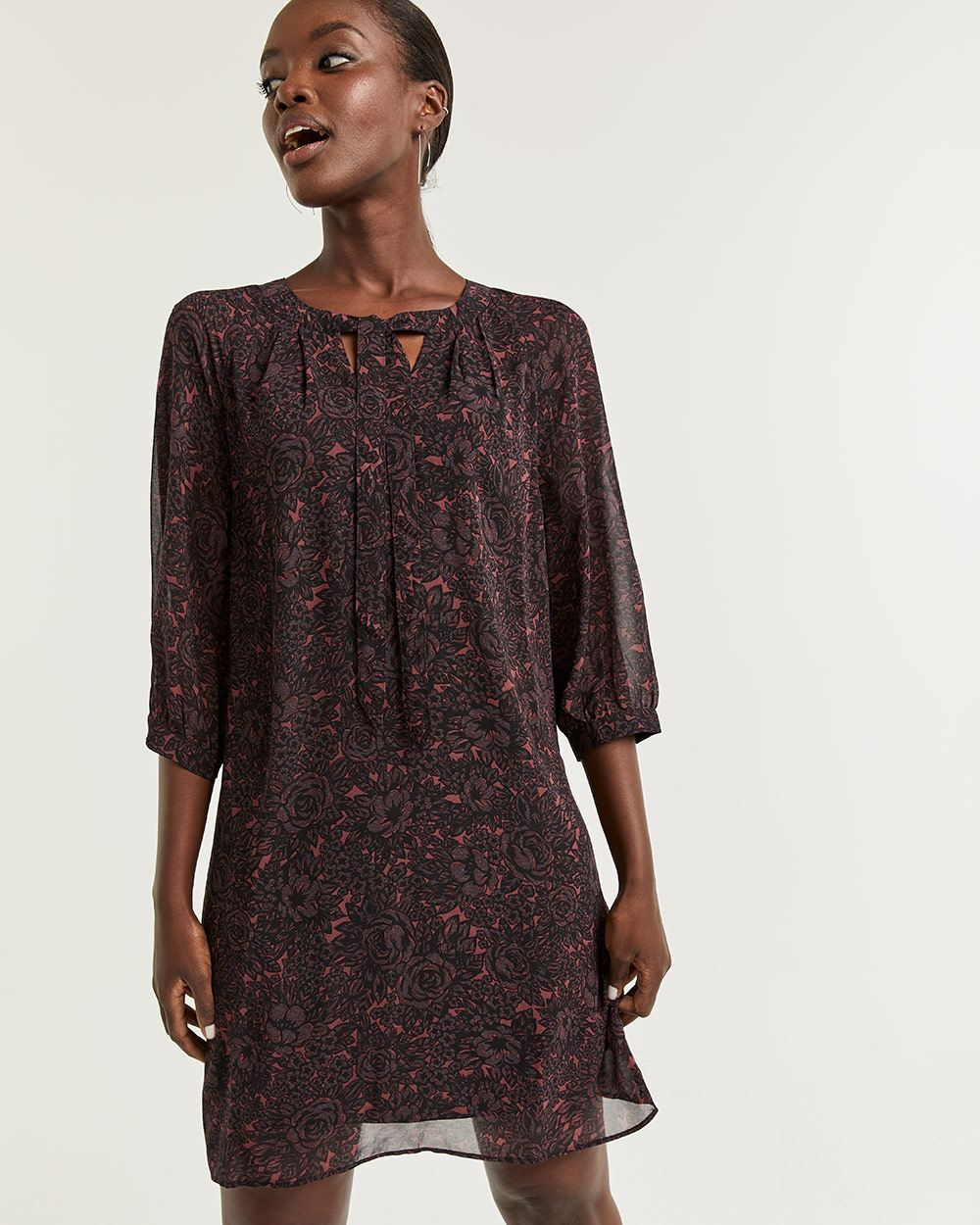3/4 Sleeve Printed Shift Dress with Tie