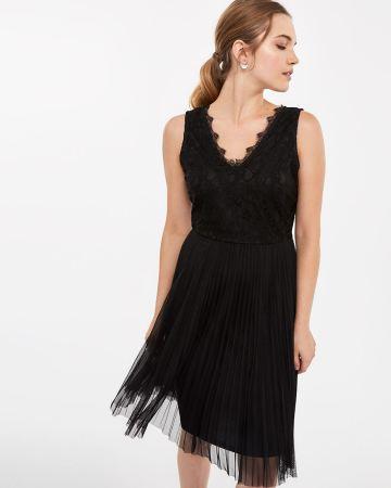 Sleeveless Lace Pleated Dress