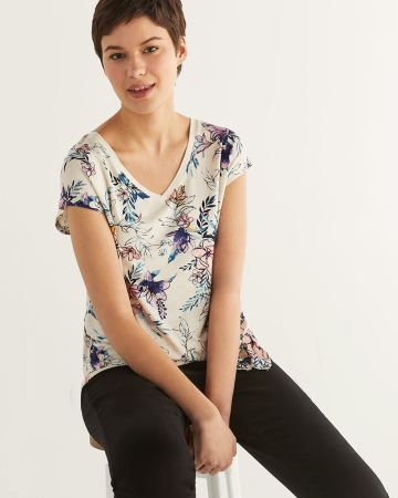 Printed Tee with Front Tie - Petite