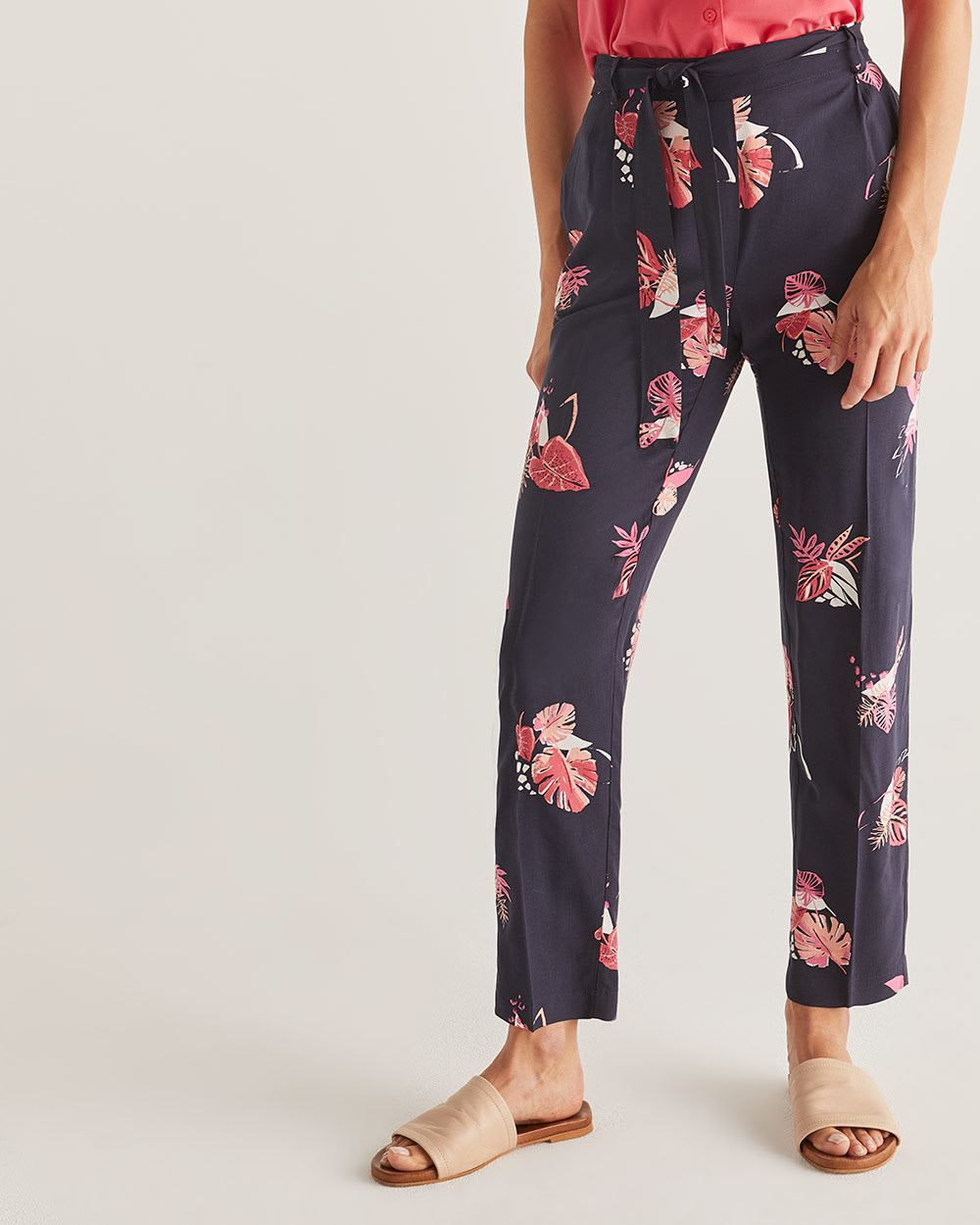 Slim Printed Ankle Pants with Sash - Petite