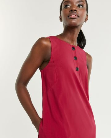 Sleeveless Swing Dress with Buttons at Neck