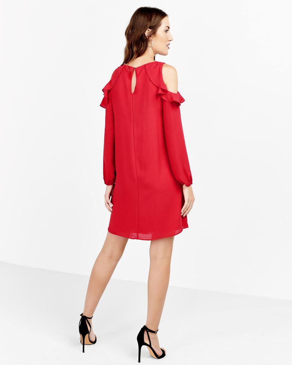 79c61dee992ea Ruffle Cold Shoulder Dress