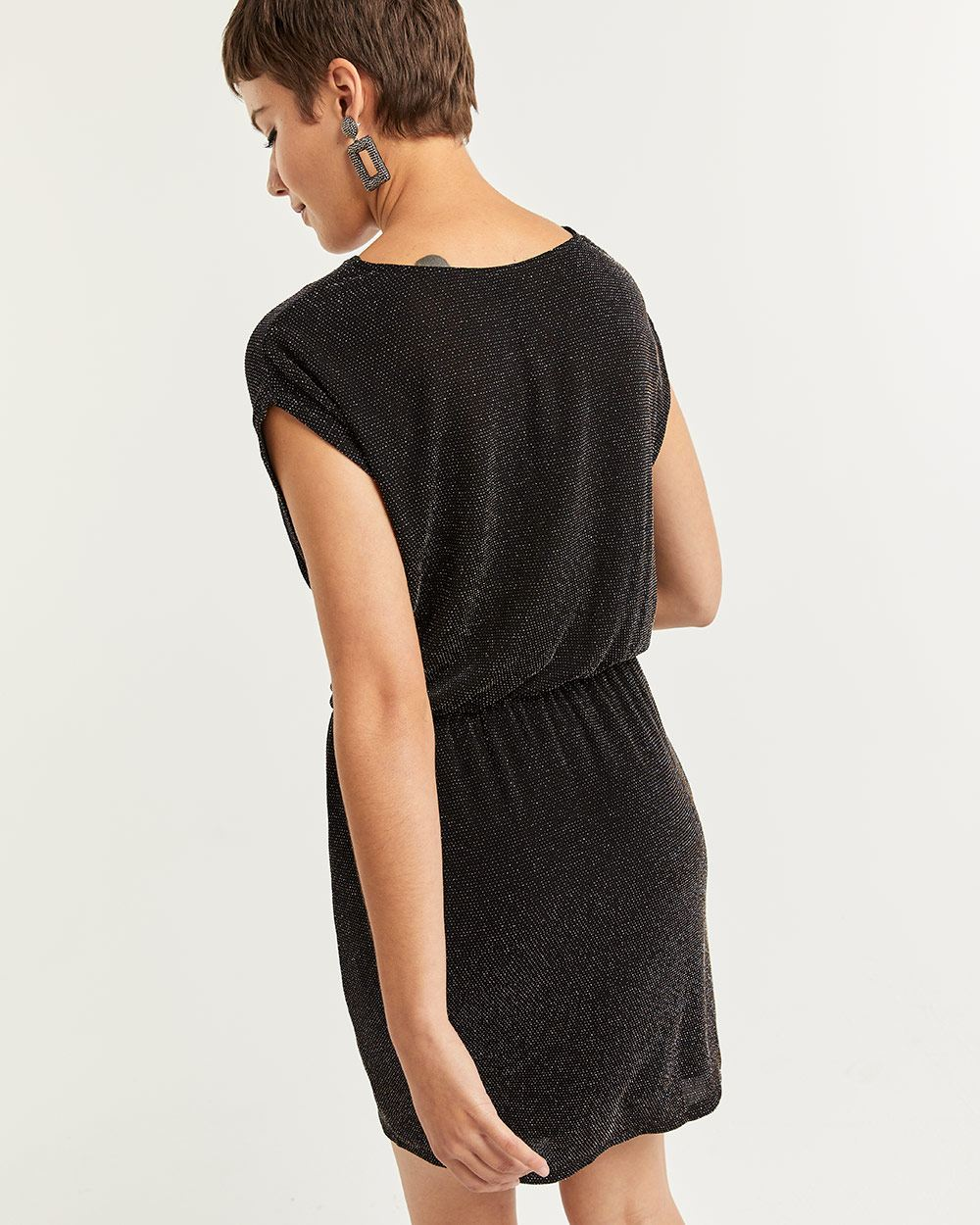 Short Sleeve Shimmer Dress with Draped Neck
