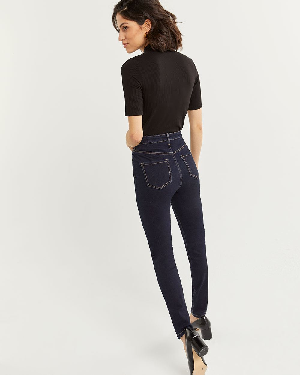 5-Button High Rise Skinny Jeans