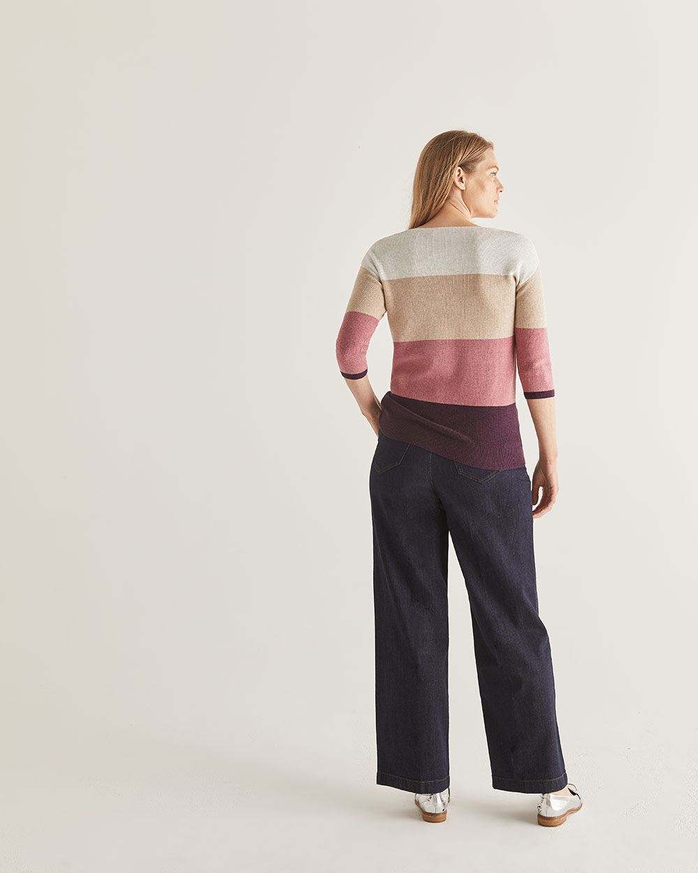3/4 Sleeve Colourblock Cotton Sweater