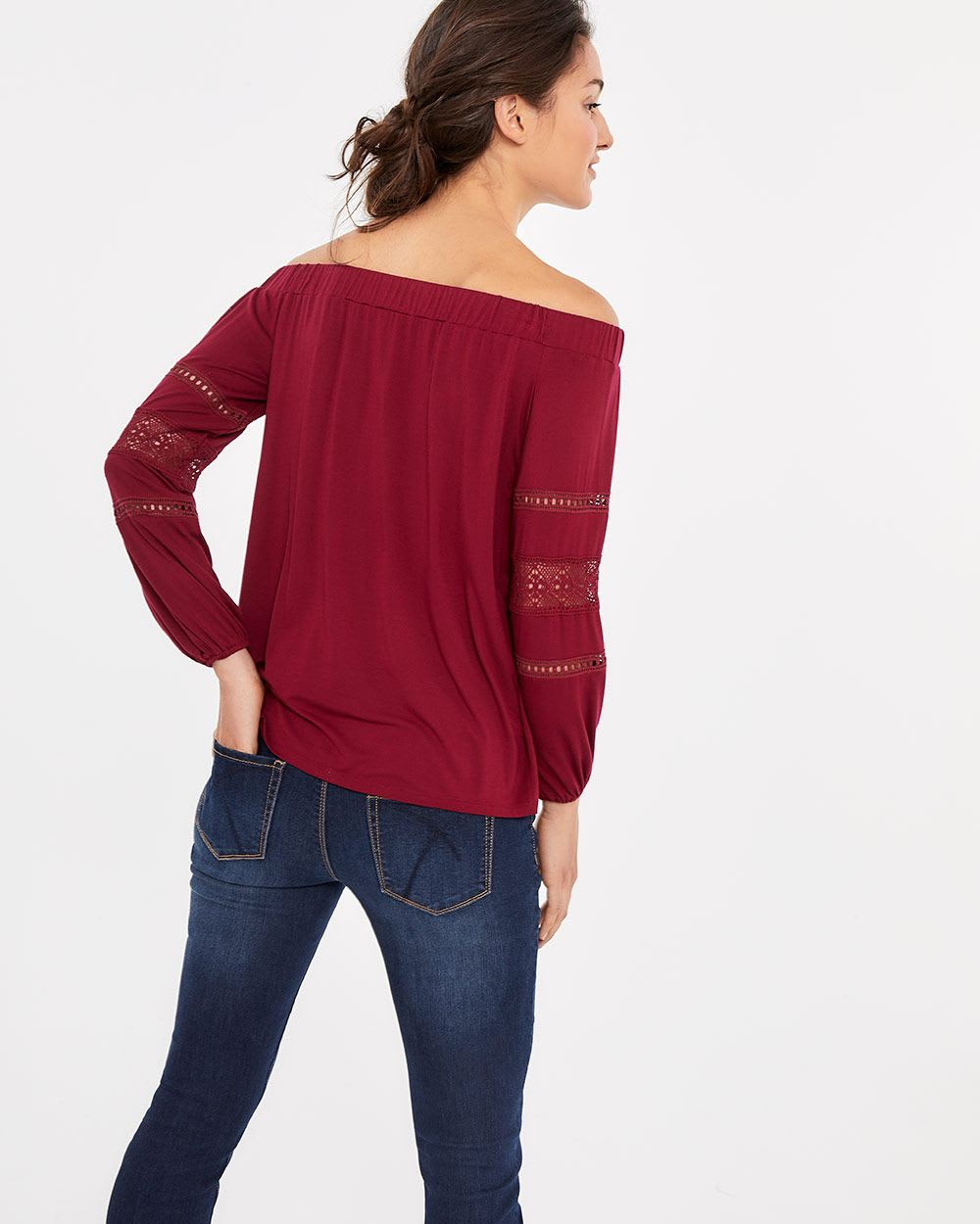 Off-The-Shoulder Mixed Media Top