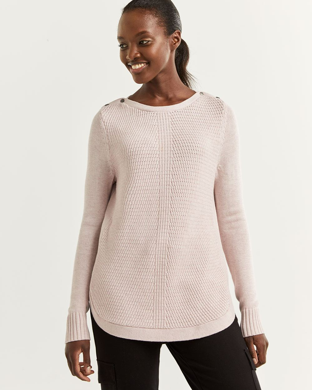 Sweater with Buttons at Shoulders