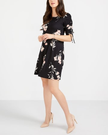 Ruched Sleeve Printed Dress