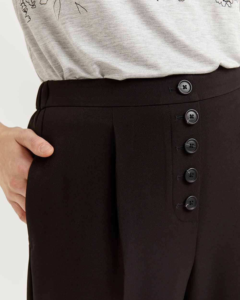 Peg Leg Pull On Pants with Decorative Front Buttons