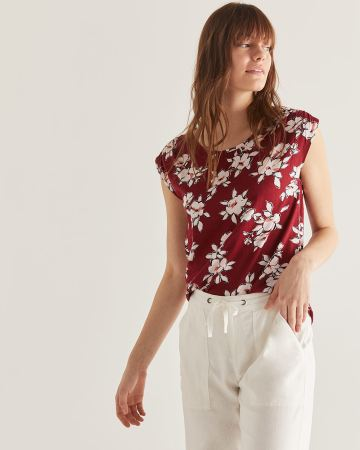Cotton & Linen-Blend Printed Tee