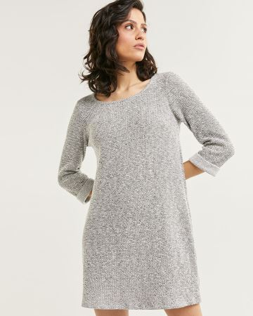 3/4 Sleeve Scoop Neck Textured Shift Dress