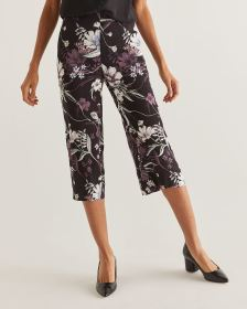 Floral Print Wide Leg Cropped Pants