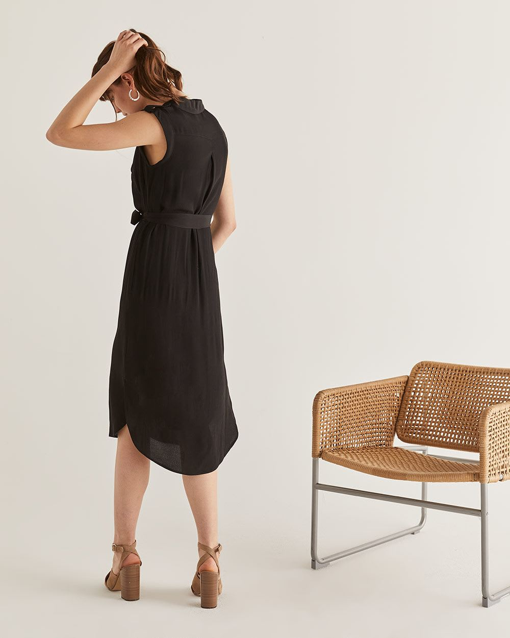 Black Shirt Dress with Sash