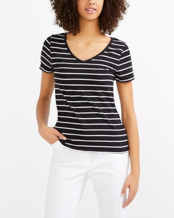 R Essentials Staple Striped V-Neck Tee