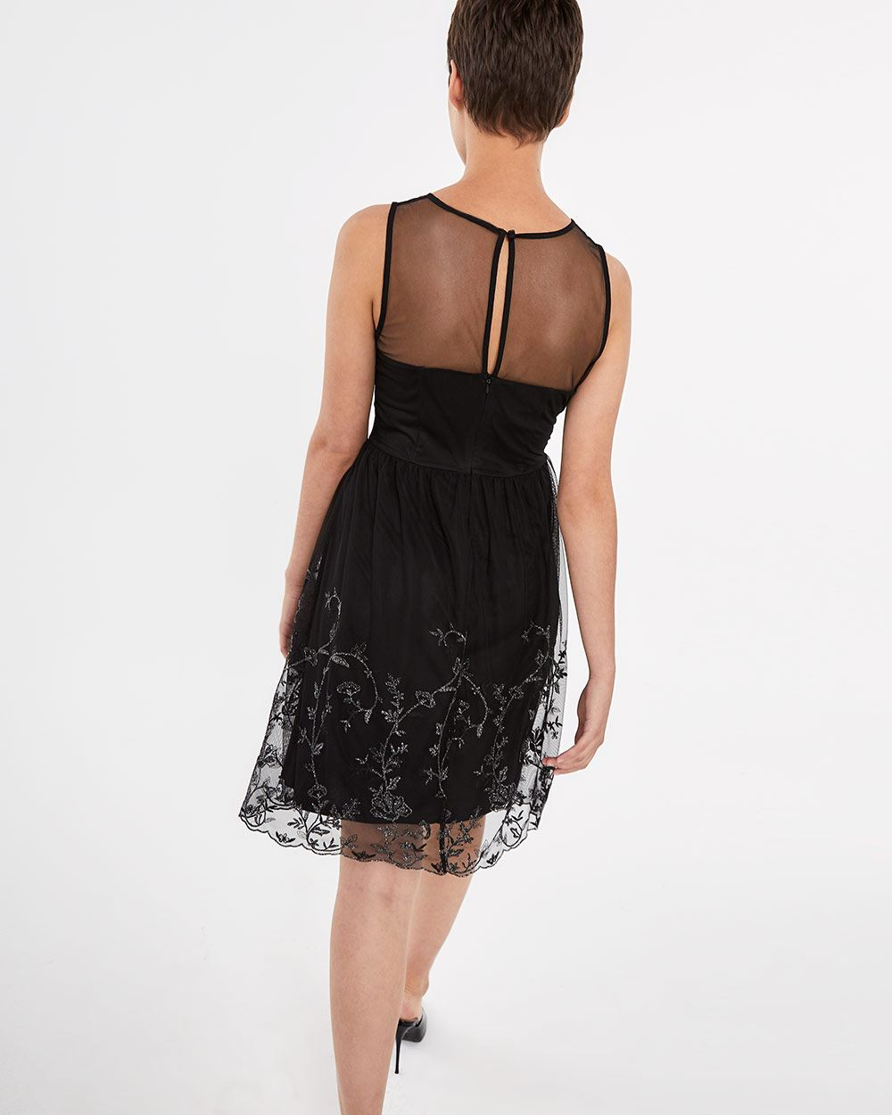 Sleeveless Embroidered Mesh Dress
