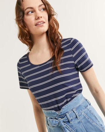 Short Sleeve Scoop Neck Stripped Tee R Essentials