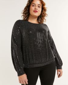 Long Sleeve Sequin Sweatshirt