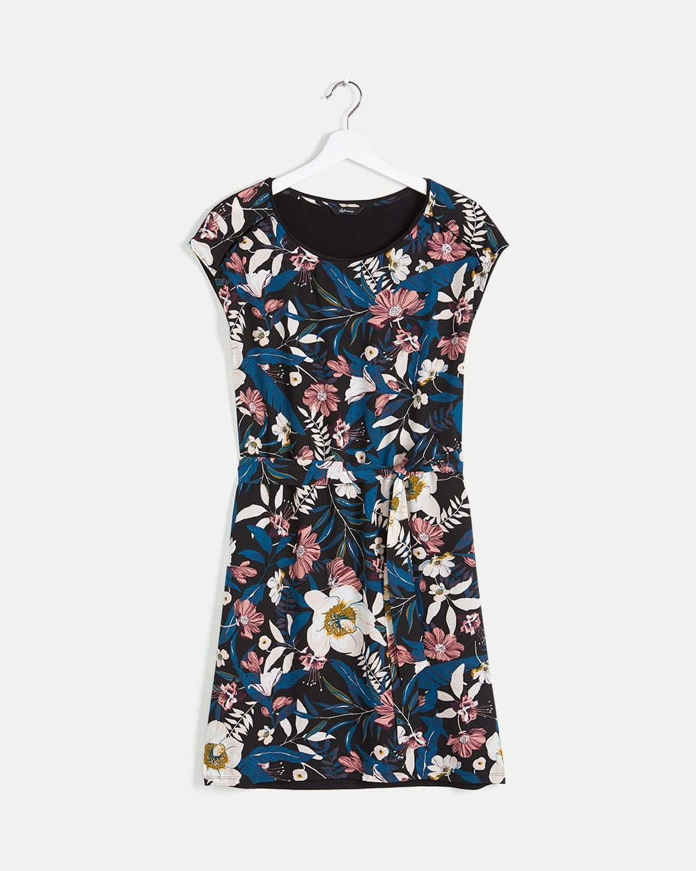 Mix Media Printed Shift Dress with Sash