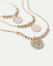 3-Layer Coin Pendant Necklace with Stones