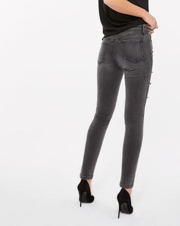Tall Grey Wash Skinny Jeans with Pearls