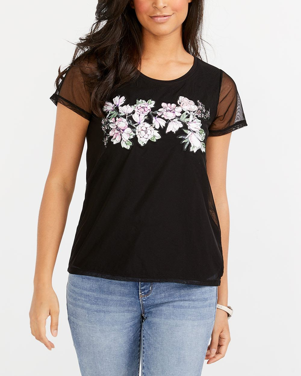 92c1e484a Mesh Sleeve Appliqué T-Shirt   Women   Reitmans