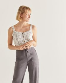 Linen-Blend Buttoned-Down Cami