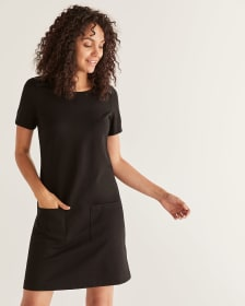 Short Sleeve Shift Dress with Faux Leather Inserts