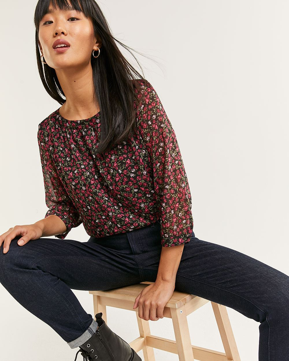 3/4 Sleeve Boat Neck Printed Blouse - Petite
