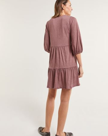 3/4 Balloon Sleeve Tiered Textured Swing Dress