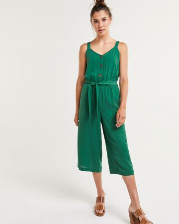 Wide Leg Sleeveless Jumpsuit with Sash