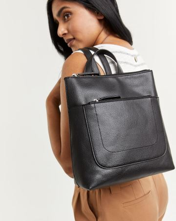 Faux Leather Modern Backpack