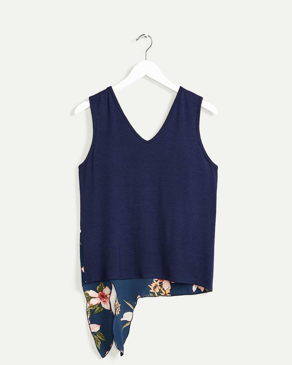 Sleeveless Printed Top with Front Tie