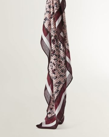 Floral and Stripe Printed Scarf