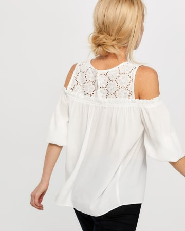 Cold Shoulder Blouse with Crochet Yoke