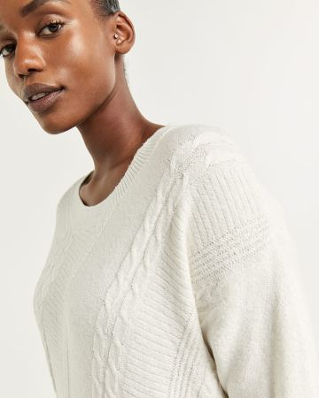 Long Sleeve Sweater with Diagonal Stitches - Petite