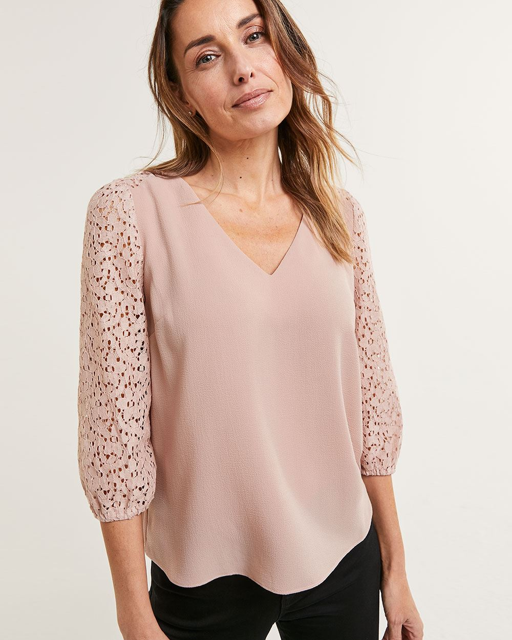 3/4 Sleeve V-Neck Blouse with Lace Inserts